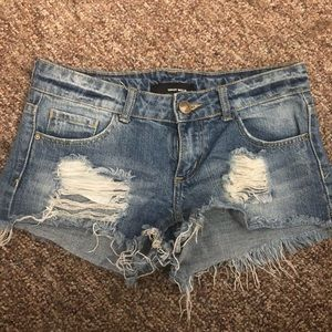 Pants - Ripped Jean Shorts